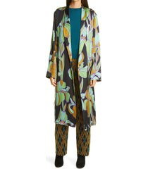 women's dries van noten charlie floral wrap silk topper, size small - green