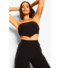 getailleerde bandeau crop top, black