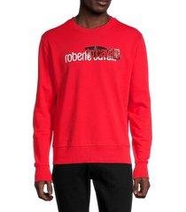 roberto cavalli men's logo cotton-blend sweatshirt - red - size xxl