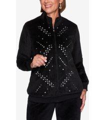 alfred dunner modern living velour grommet jacket
