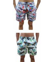 kit 2 bermuda short moda praia estampada love boca e tartaruga