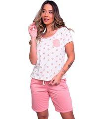 pijama bella fiore modas estampado com bolso hadassa coral - coral - feminino - poliã©ster - dafiti