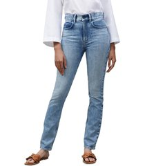 women's lafayette 148 new york reeve high waist straight ankle jeans, size 30 - blue