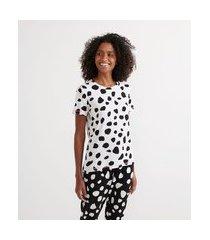 pijama em viscolycra estampada com blusa manga curta e calça | lov | branco | p