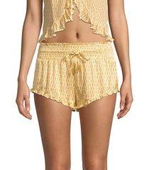 silk printed ruffle shorts