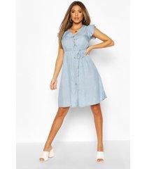 chambray frill sleeve button skater dress, light blue