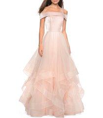 women's la femme off the shoulder evening dress, size 0 - pink