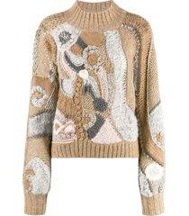 alberta ferretti colour-block embroidered sweater - neutrals