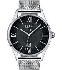 boss hugo boss men's governor master stainless steel mesh bracelet watch 44mm
