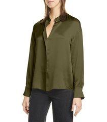 women's vince wrap front long sleeve silk blouse