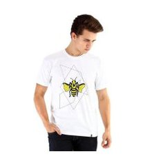 camiseta ouroboros manga curta abelha geométrica