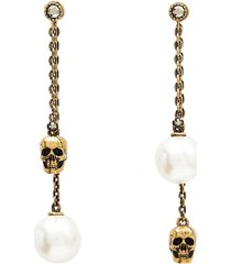 alexander mcqueen pearly skull earrings