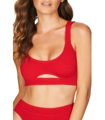 women's bound by bond-eye the sasha cutout ribbed bikini top, size one size - red
