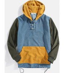 charmkpr hombre sudadera con capucha de diseñador con botones de patchwork de pana