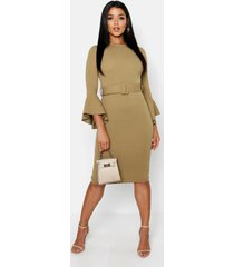 flared sleeve belted midi dress, sage