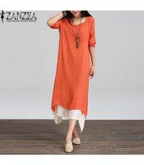 zanzea nueva manera de algodón de lino vestido de las mujeres de la vendimia floja ocasional del o-cuello de boho maxi largo de los vestidos más del tamaño vestidos 3 colores (naranja) -naranja