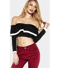 frill neckline off shoulder long sleeves contrast binding crop top