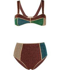 oséree colour-block fitted bikini - brown