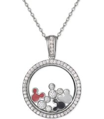"disney cubic zirconia & enamel mickey mouse shaker 18"" pendant necklace in sterling silver"
