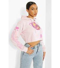korte overdye universal hoodie, pink
