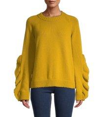 redvalentino women's virgin wool ruffle sweater - digital yellow - size m