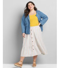 lane bryant women's button-front ruffle-hem midi skirt 26/28 pastel stripes