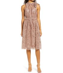 js collections embroidered halter neck cocktail midi dress, size 16 in latte at nordstrom