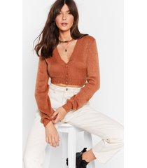 womens crop me oh cropped cardigan - rust