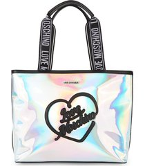 love moschino women's logo holographic tote - hologram