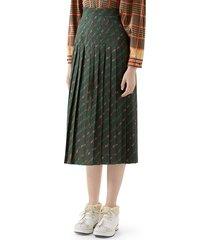 women's gucci pleated belt print wool midi skirt, size 6 us / 42 it - green