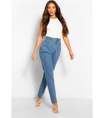 lange basic boyfriend jeans, donkerblauw