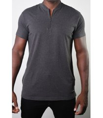 members only men's basic henley zip tee