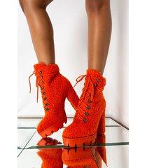 akira azalea wang lay on me chunky heel bootie in orange