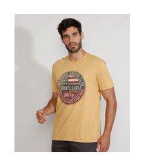 """camiseta masculina manga curta gola careca sports cars classics"""" mostarda"""""""