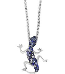 925 sterling silver, blue & white sapphire lizard necklace