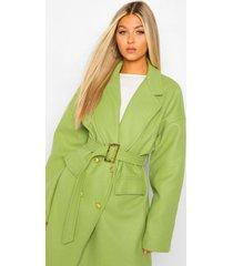 tall nepwollen jas met riem en militaire knopen, groen