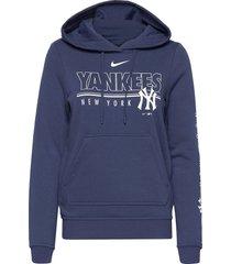 new york yankees nike team outline club pullover hoodie hoodie trui blauw nike fan gear