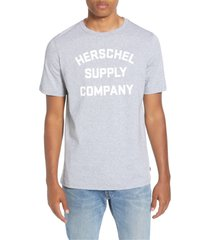 men's herschel supply co. stacked logo t-shirt, size large - grey