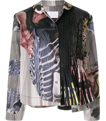 roberts wood collage print jacket - green