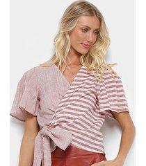 blusa colcci transpassada listrada feminina