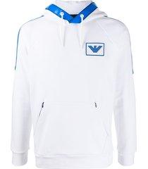 emporio armani two-tone logo hoodie - white
