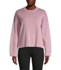vince women's cotton-blend sweater - amaranth - size xs