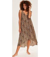 leopard print midi beach dress