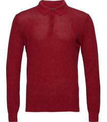 o2. cotton cashmere textured polo polos long-sleeved rood gant