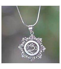 sterling silver pendant necklace, 'om bouquet' (indonesia)