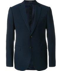 emporio armani fine check blazer - black