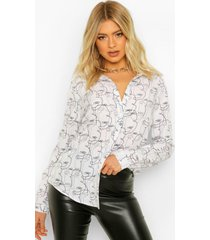 tall blouse met abstract gezicht, white