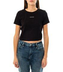 calvin klein t-shirt donna micro branding crop rib top j20j215699.beh