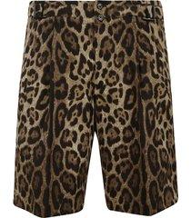 dolce & gabbana leopard printed shorts