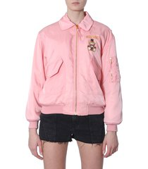 moschino teddy bear circus printed bomber jacket